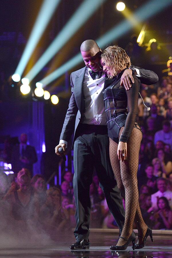 Beyoncé and husband Jay Z after performing Drunk in Love.