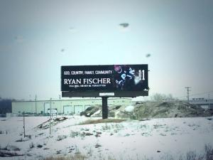 A billboard in memorial of Ryan.