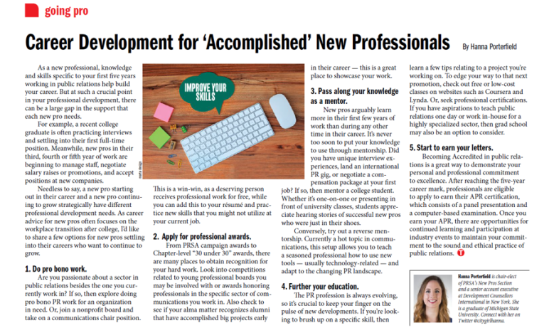 career development for accomplished new professionals