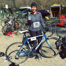 Competing in the Central Park Biathalon, where I got first for my age group. I also got first in the triathlon!